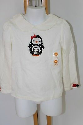 Gymboree Holiday Winter Penguin Baby Girls Size 5T Button Bow Top Shirt NWT