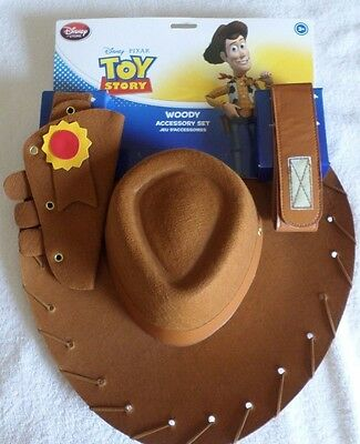 Disney Store Toy Story Woody Costume Accessory Set Hat Belt And Holster Nwt