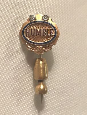 Humble Oil Company 10K Gold 30 Year Pin set with Two Diamonds