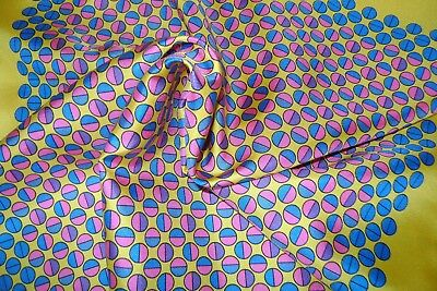 """Handmade Macclesfield silk pocket square 18"""" hand rolled gold pink blue circles"""