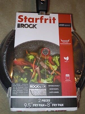 """STARFRIT THE ROCK Brand NEW set of 2 Frying Pans 8"""" and 9'5"""" with Bakelite Hand"""
