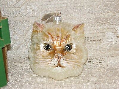 Slavic Treasures mouth blown hand painted glass White Himalayan cat ornament