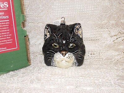 Slavic Treasures mouth blown hand painted glass Black Himalayan cat ornament