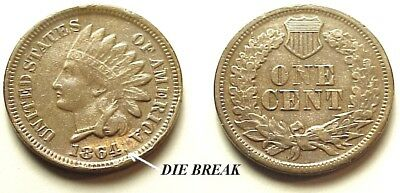 X/f 1864 Indian Head Cent Br- Great Color & Eye Appeal! Free Shipping!