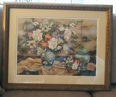 Lena Liu Oriental Splendour Framed Tapestry Pictures Signed Gold Colours Perfect