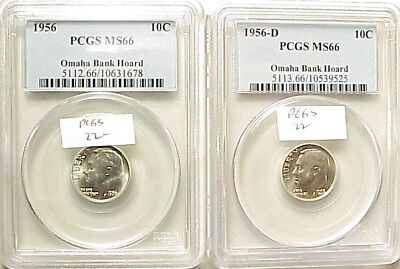Dazzling 1956P+1956D Roosevelt Dimes - Pcgs Ms66 All Omaha Bank Hoard!