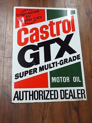 "original Castrol GTX Motor Oil Sign 35x24""dealer Sign"