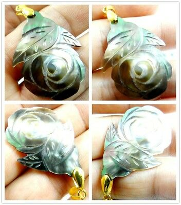 1PC Natural Abalone SHELL hand-carved flower Pendant Beads necklace Jewelry D19