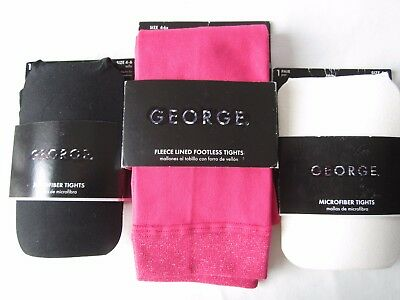 3 NEW PAIR TIGHTS Size 4-6 1 fleece Lined Footless Pink & 2 Microfiber by GEORGE