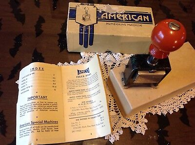 Vintage American Numbering Machine Original Box + Booklet Model # 110 / 5 Wheels