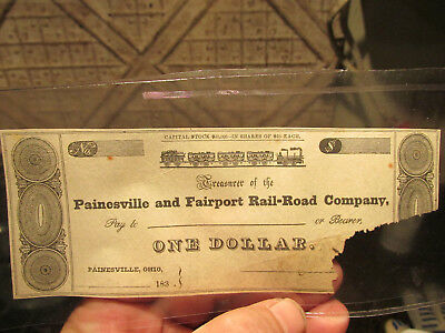 1830s Painesville & FairportRail-Road Co. $1 Ohio Scrip Bearer Remainder Note