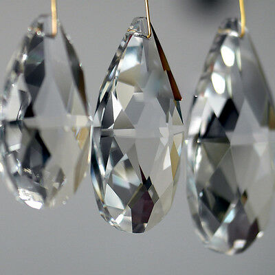 10/50Pcs Lamp Prisms Clear Chandelier Glass Crystal Hanging Drops Pendants 22mm