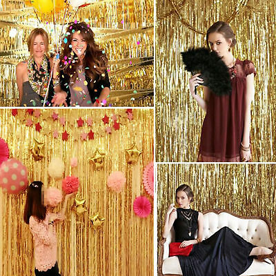 Metallic Tinsel DOOR CURTAIN Backdrop Foil Kids Party Wedding Backdrop Shiny