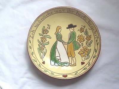 Primitive Reproduction Redware German Plate, Long Family Potters, Dated 1988