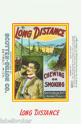 Tobacco Can Label Vintage Scarce Long Distance Telephone Candlestick Train C1920