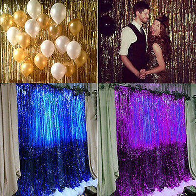 Metallic Fringe Shimmer Foil Curtain Party Tinsel Backdrop Photography Room Deco