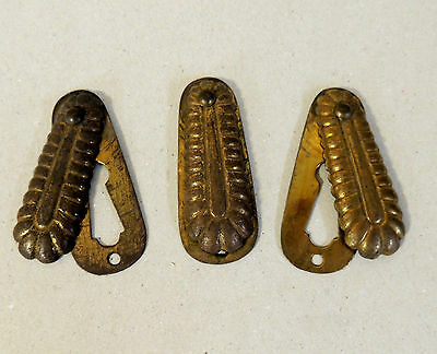 3 Antique vtg Brass KEYHOLE Cover ESCUTCHEON Door Hardware Skeleton Key