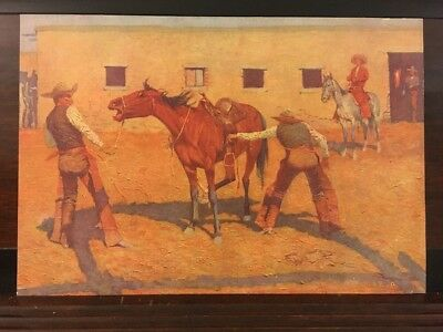 His First Lesson Antique Circa 1908 Frederic Remington Western Lithograph Print