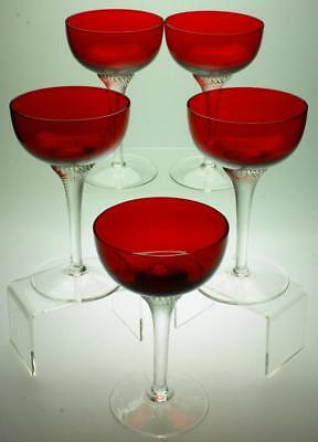 Lot of 5 Bohemian Moser Ruby Red Crystal Czech Cocktail, Champagne Glasses SC65