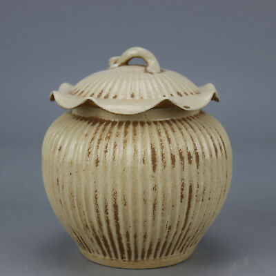 Chinese old carved  porcelain white glaze wire  stripe lotus leaf form Cover pot