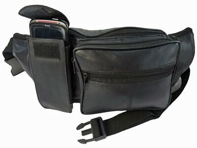 Extra Large Leather Bumbags Soft Black Leather BumBag Up To 50 inch WAIST Size