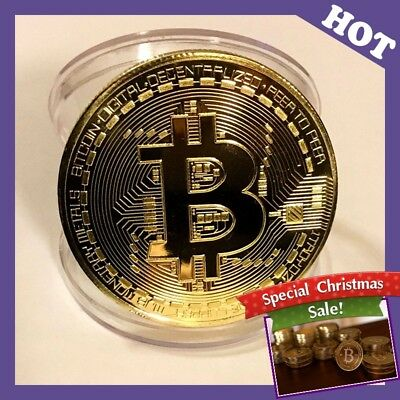 BITCOIN!! Gold Plated Physical Bitcoin in protective acrylic case Gift