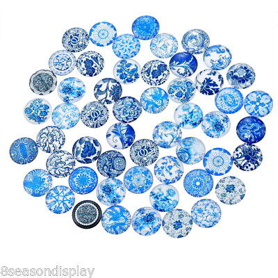 20x Glass Mix China Flower 2cm Round Cameo Cabochon for Jewellery&Model Making