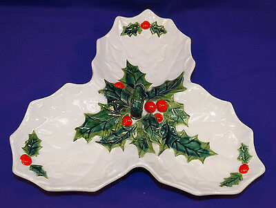 Vintage Lefton China Christmas White Holly 3 Compartment Serving Dish 6059