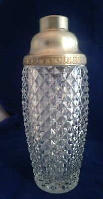 vintage mid-century Italian Crystal and Sterling cocktail shaker