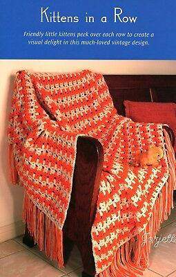 Kittens in a Row Afghan Throw ~ Classic Vintage Afghan Design crochet pattern