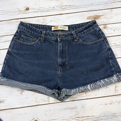 Vintage 90s Blue Denim High Waist Mom Jean Shorts Route 66 Womens Size 12 Grunge