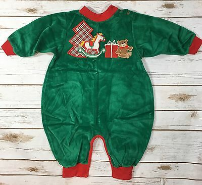 Vtg 80s Green Velour Christmas One-Piece Romper Outfit Unisex Baby 12 Months