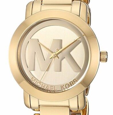 16c37c98b7f7 MICHAEL KORS 38Mm Goldtone Stainless Logo Face Watch