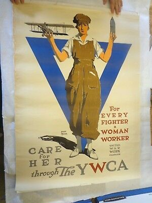 Original WWI United War Work Campaign Triedler Poster Airplane Aviation