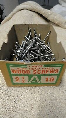 Vintage Atlas #2 1/2-10 Steel Flat Head Slotted Wood Screws
