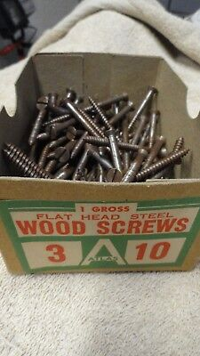 Vintage Atlas #3-10 Steel Flat Head Slotted Wood Screws