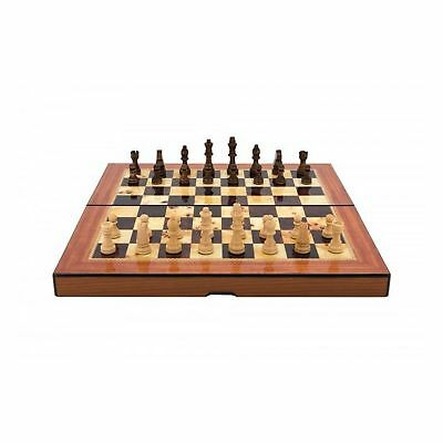 Dal Rossi Folding Walnut Shiny Finish Chess Set 40cm