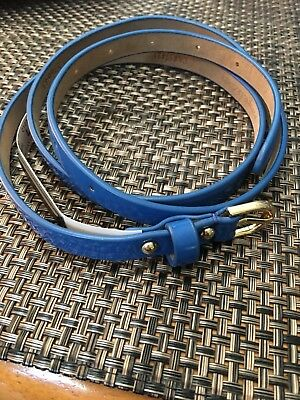 Ann Taylor Blue Skinny Genuine Leather Belt With Gold Tone Buckle- Size L NWT