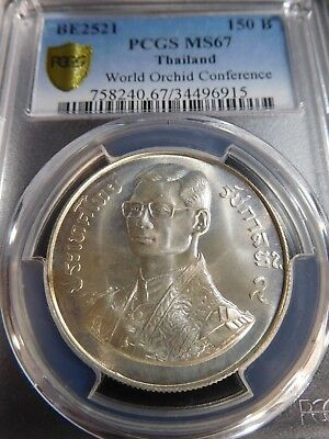 INV #Th146 Thailand BE-2521 150 Baht World Orchid Conference PCGS MS-67