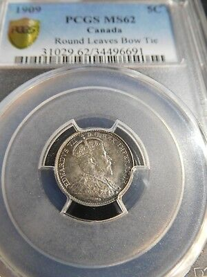 INV #Th154 Canada 1909 5 Cents Round Leaves Bow Tie PCGS MS-62