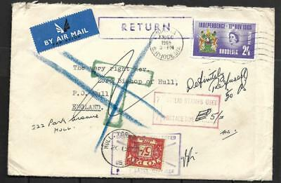 Rhodesia, 1965 Surcharged Mail To Uk, Refused And Returned, Various Cachets,
