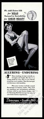 1937 Humming Bird Davencrepes stockings sexy lingerie woman art vintage print ad