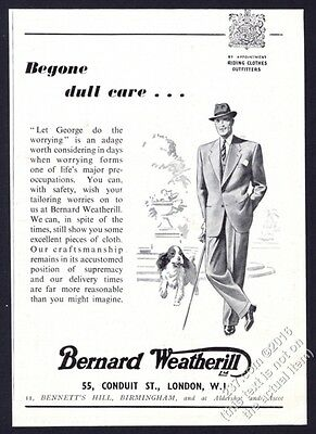 1948 Bernard Weatherill man's suit illustrated vintage fashion print ad