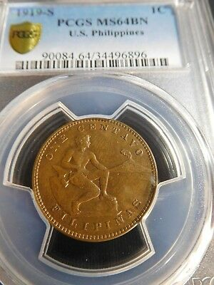 INV #Th260 Philippines 1919-S Centavo PCGS MS-64 Brown