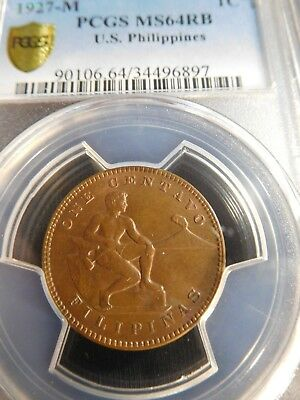 INV #Th261 Philippines 1927-M Centavo PCGS MS-64 Red Brown
