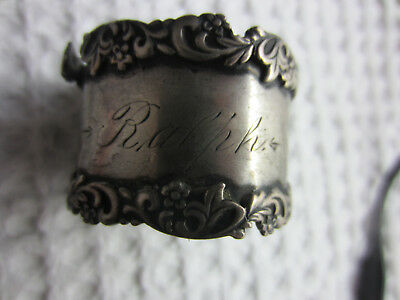 """antique sterling silver round filigree napkin ring engraved """"Ralph"""" 21.58g as is"""