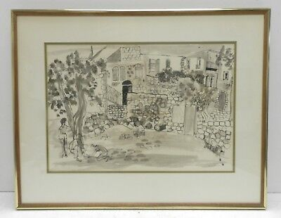 Signed City Street/ People Scene Abstract / Graphic Ink Drawing