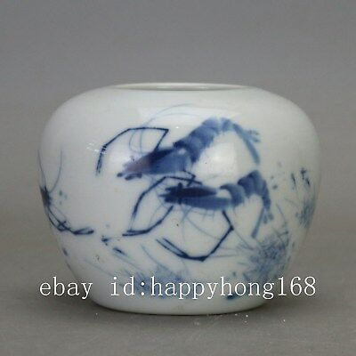 Chinese old carved porcelain Blue & white shrimp pattern writing-brush washer