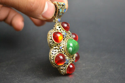 Vintage China Style Decor Old Green JadeAnd Cloisonne red bead Noble Pendant