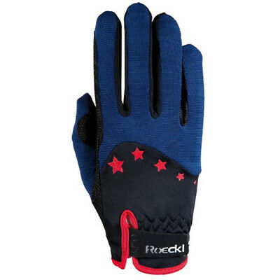 Roeckl Teen Stars Kids Gloves Everyday Riding Glove - Navy/red All Sizes